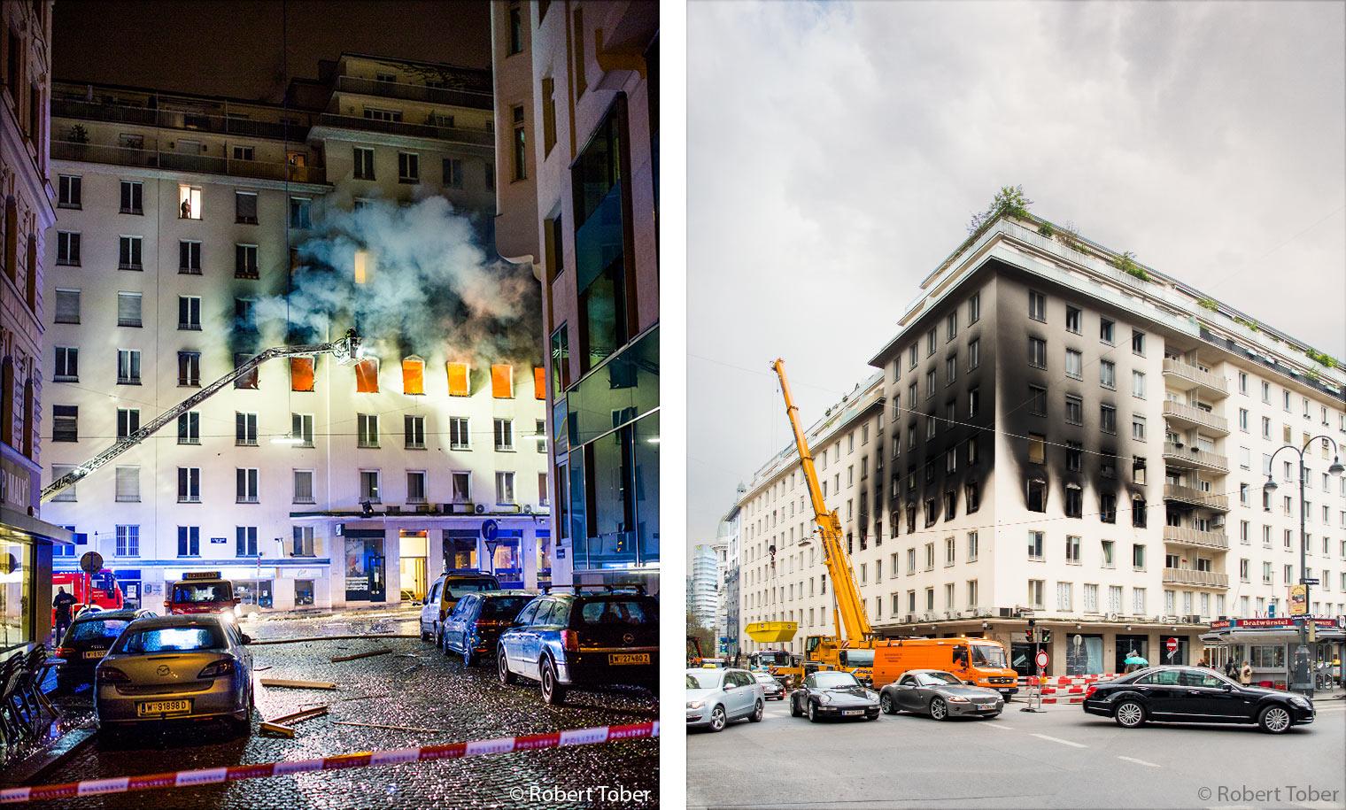 Explosion durch Brandstiftung in der Wiener Marc-Aurel-Strasse · © Robert Tober · www.toro.cc